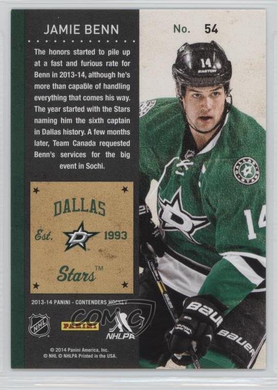 Verzamelingen 2013-14 Panini Playoff Contenders Hart #HC-7 Jamie Benn Dallas Stars Hockey Card