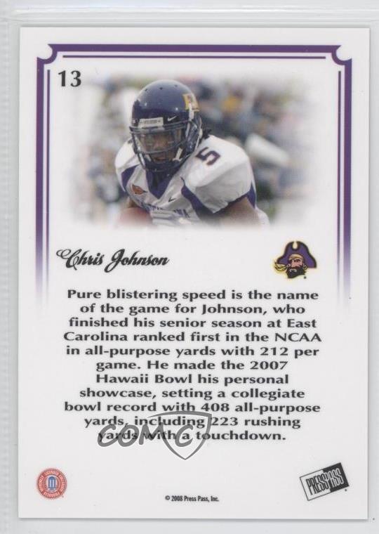 2008 Press Pass Legends Bowl Edition 10 Yard Line 13 Chris Johnson