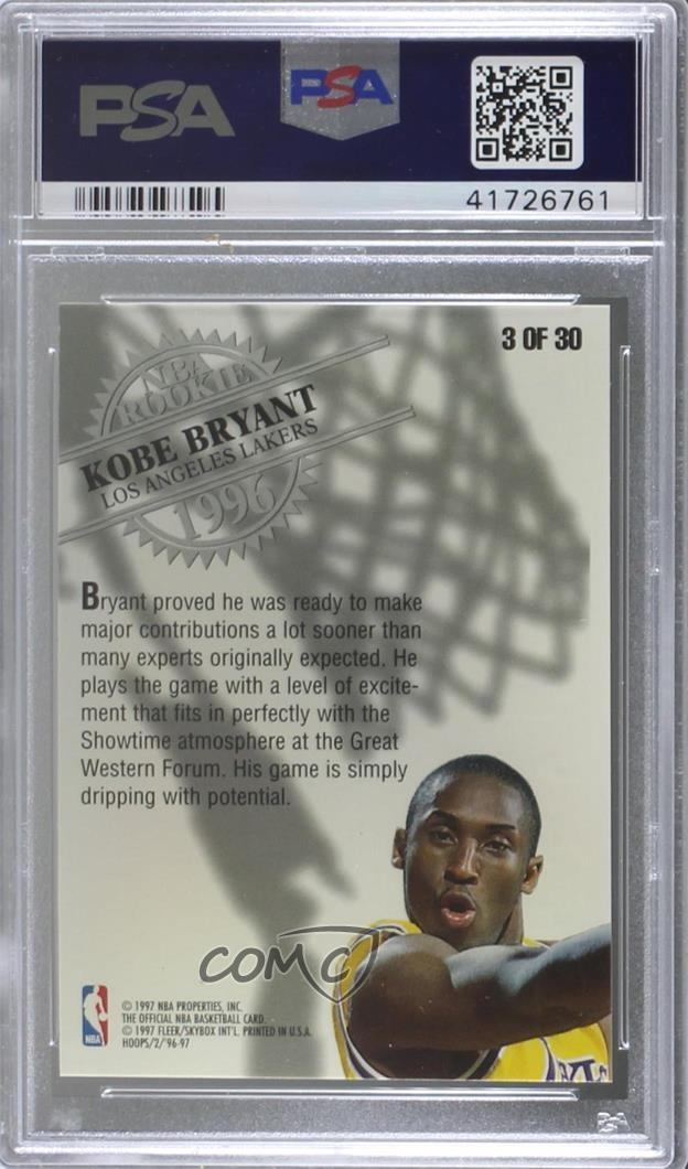 Details about 1996-97 NBA Hoops Rookie #3 Kobe Bryant PSA 9 MINT Los  Angeles Lakers Card