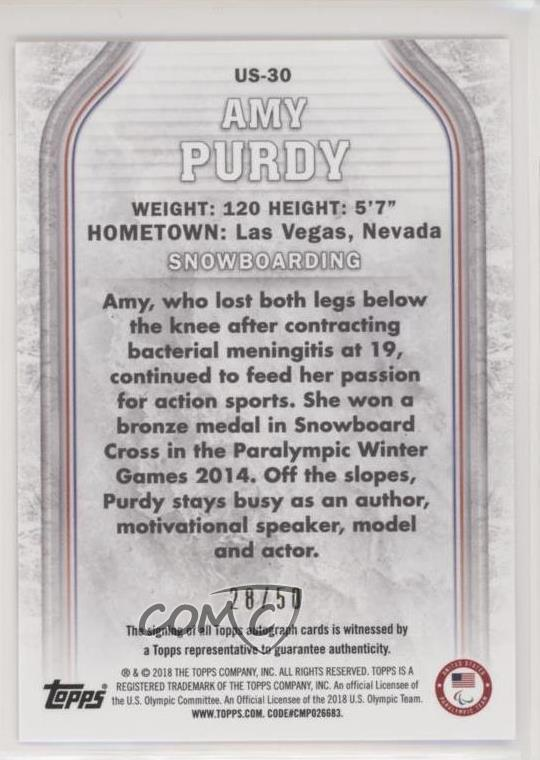 sports memorabilia 2014 TOPPS WINTER OLYMPICS SNOWBOARDING AMY PURDY TRADING CARD LAS VEGAS NEVADA MLB Fan Apparel & Souvenirs