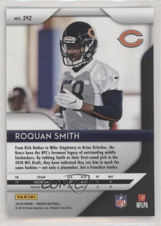 Trading Cards 2018 Panini Prizm 242 Roquan Smith Chicago