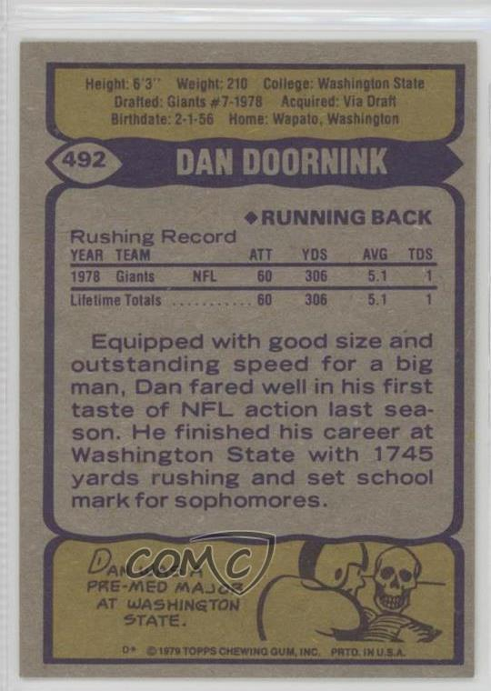 Details about 1979 Topps #492 Dan Doornink New York Giants RC Rookie  Football Card