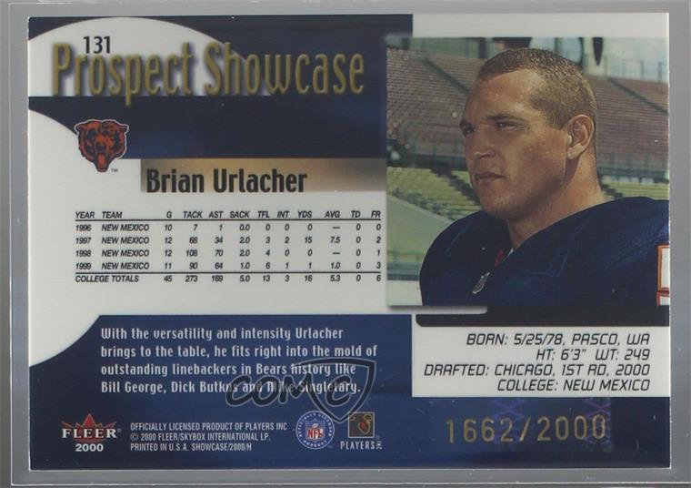 Details about 2000 Fleer Showcase/2000 #131 Brian Urlacher Chicago Bears  Rookie Football Card