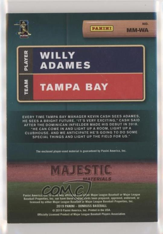 Details About 2019 Panini Donruss Majestic Materials Gold99 Mm Wa Willy Adames Baseball Card