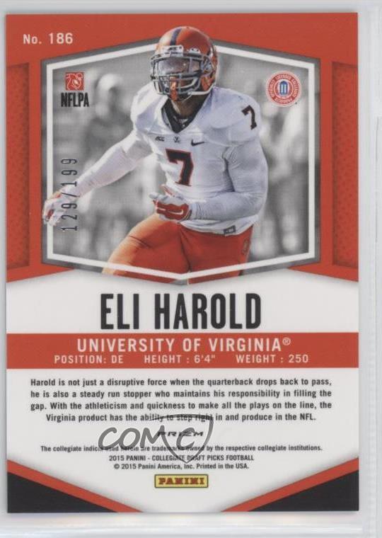 2015 Panini Prizm Collegiate Draft Picks Camo Prizms #186 Eli Harold Rookie Card Verzamelingen Amerikaans voetbal