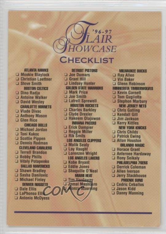 Details about 1996-97 Flair Showcase Checklist Basketball Card