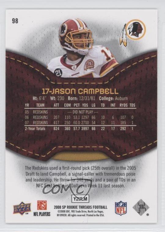 2008 SP Rookie Threads 98 Jason Campbell Washington Redskins