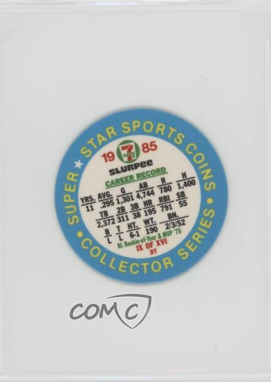 Details about 1985 7 Eleven Slurpee Super Star Sports Coins Blue Back #IXDT  Fred Lynn Card