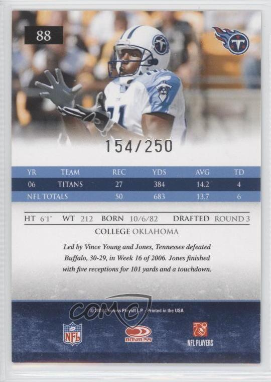 43dcd241 Details about 2007 Donruss Gridiron Gear Silver Os/250 #88 Brandon Jones  Tennessee Titans Card