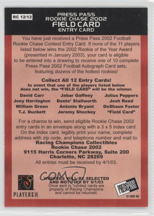 Details about 2002 Press Pass Rookie Chase Entry #RC12 Football Card