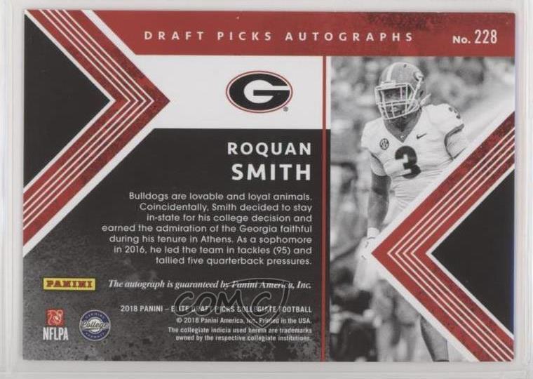 2018 Panini Elite Autographs Autographed #228 Draft Picks Roquan Smith Auto Card Verzamelkaarten, ruilkaarten