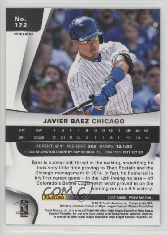 Details about 2015 Panini Prizm Blue Baseball Prizms #172 Javier Baez  Chicago Cubs Rookie Card