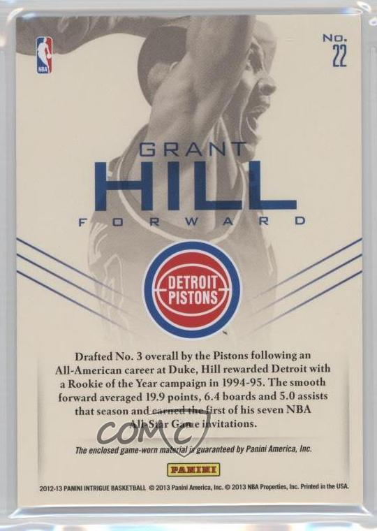 Verzamelingen 2012-13 Panini Intrigue First Flight Uniforms 22 Grant Hill Detroit Pistons Card