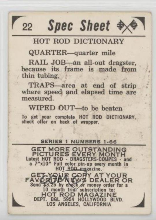 Details about 1965 Donruss Spec Sheet Hot Rods #22 Rod Dictionary  Non-Sports Card 3e3