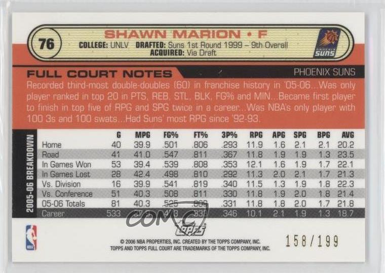 Details about 2006 Topps Full Court Photographers Proof Gold/199 #76 Shawn  Marion Phoenix Suns
