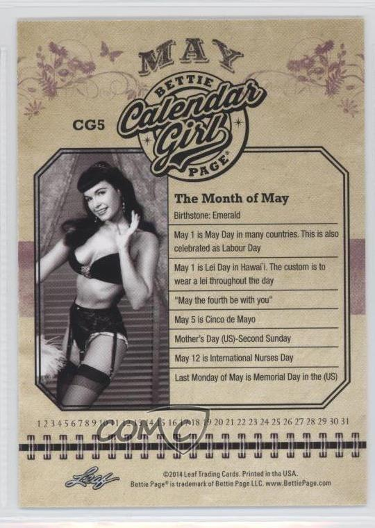 Calendar Girl May Kindle : Leaf calendar girl cg bettie page may non sports