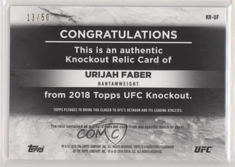 2018 Topps UFC Knockout Relics Blue KR UF Urijah Faber MMA Card