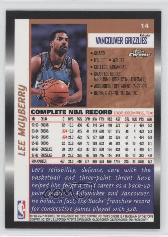 1998 Topps Chrome Refractor #14 Lee Mayberry Vancouver Grizzlies Basketball Card