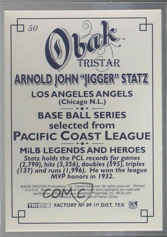 Details about 2009 TRISTAR Obak #50 Jigger Statz Los Angeles Angels Rookie  Baseball Card