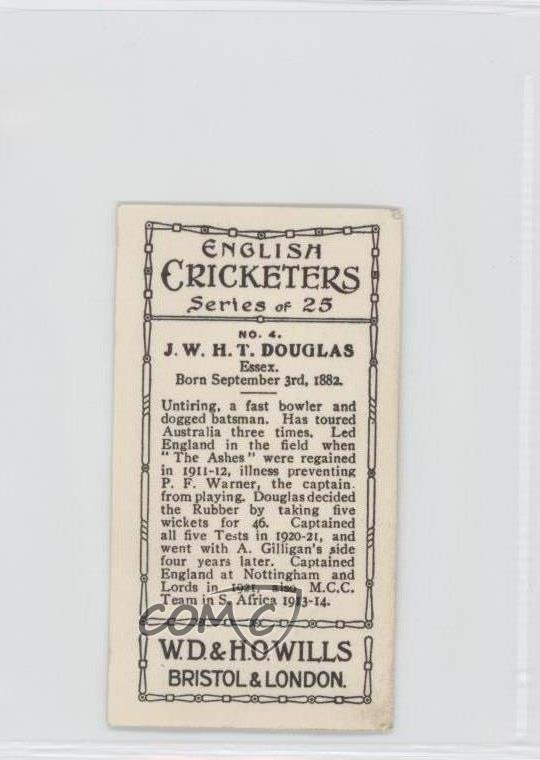 Details about 1926 Wills English Cricketers Tobacco #4 JWHT Douglas Cricket  Card