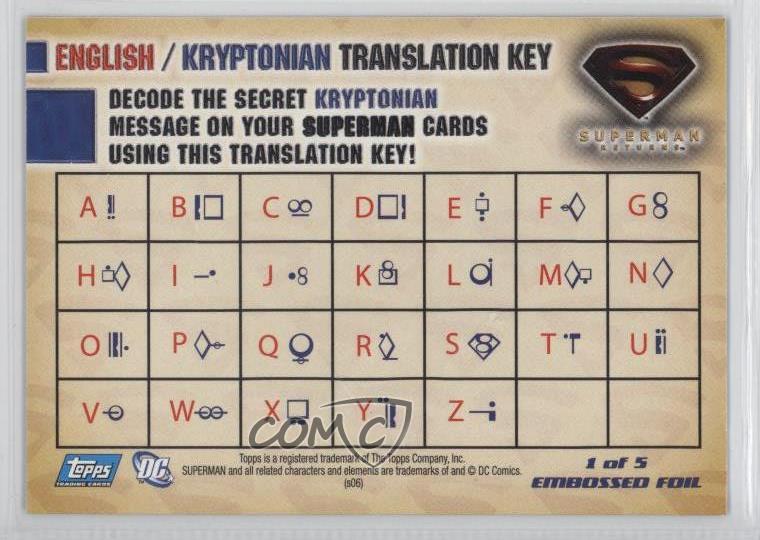 2006 Topps Superman Returns Embossed Foil 1 Non Sports Card 6or Ebay