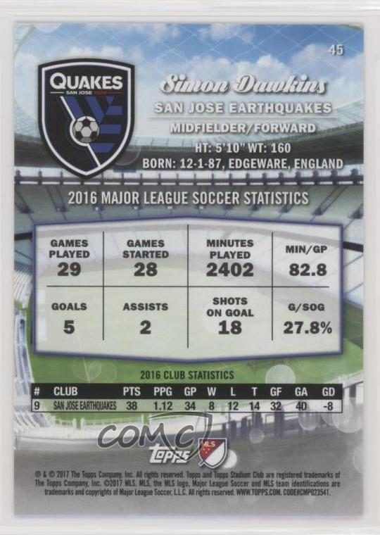 Verzamelingen Voetbal 2017 Stadium Club MLS Black & White #45 Simon Dawkins San Jose