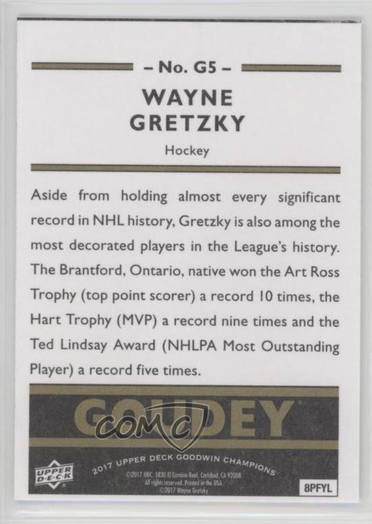 2017 Upper Deck Goodwin Champions Goudey #G5 Wayne Gretzky Rookie Card