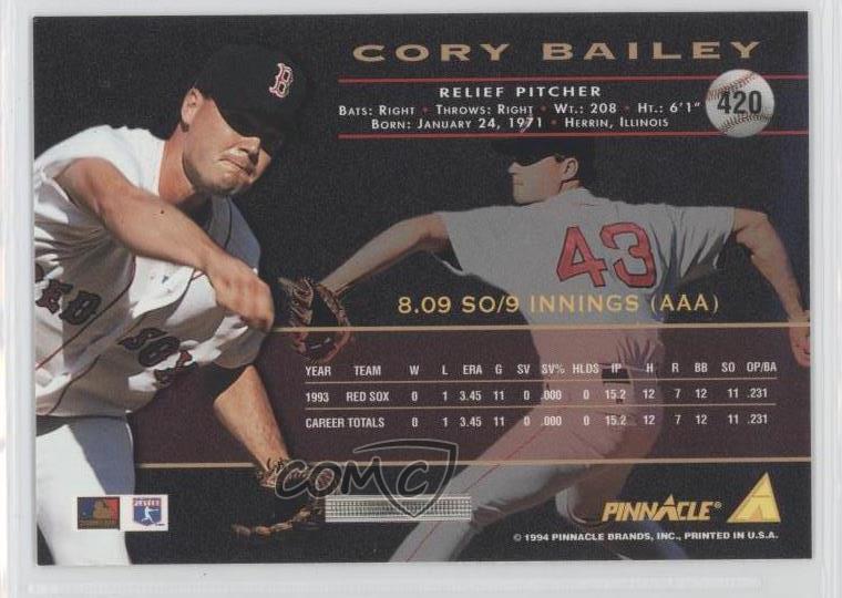 Verzamelkaarten, ruilkaarten 1994 Pinnacle Artist's Proof #420 Corey Bailey Boston Red Sox Baseball Card Honkbal