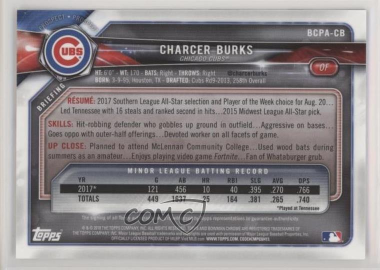 Charcer Burks Chicago Cubs Rookie Autographed New Minor League Ball # 4 Baseball-mlb