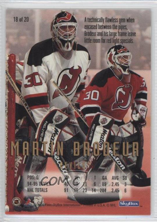Details About 1995 96 Nhl Cool Trade 18 Martin Brodeur New Jersey Devils Hockey Card