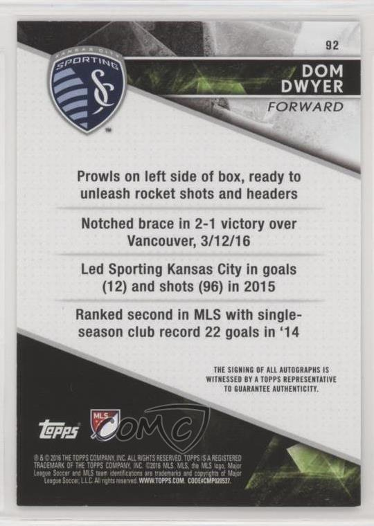 Details about 2016 Topps Apex Autographs #92 Dom Dwyer Sporting Kansas City  Auto Rookie Card