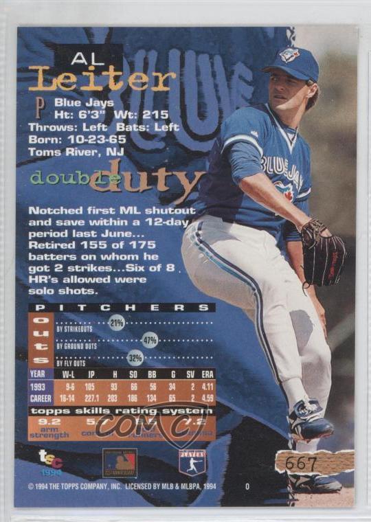 Details About 1994 Topps Stadium Club 667 Al Leiter Toronto Blue Jays Baseball Card