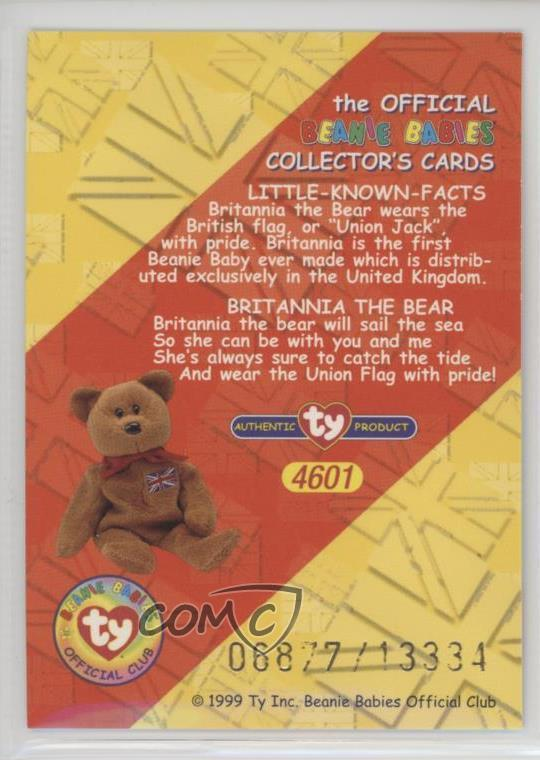 1999 Ty Beanie Babies Series 2 -  Base  - Chase Blue  291 Rare Bear  Holograms - Britannia the Bear. Front Back 2cd673a24023