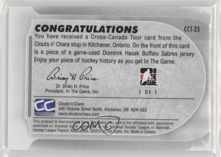 Details about 2011-12 In the Game Cross-Canada Tour Clouts 'n' Chara CCT-25  Dominik Hasek Card