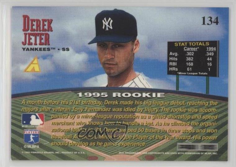 1995 Pinnacle Zenith Edition 134 Derek Jeter New York Yankees