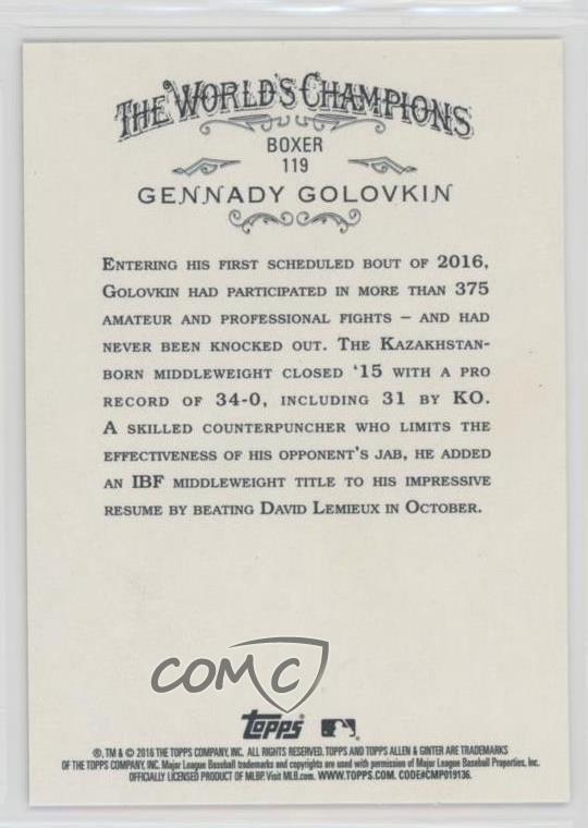 Verzamelkaarten, ruilkaarten 2016 Topps Allen & Ginter's X #119 Gennady Golovkin Rookie Baseball Card Verzamelingen