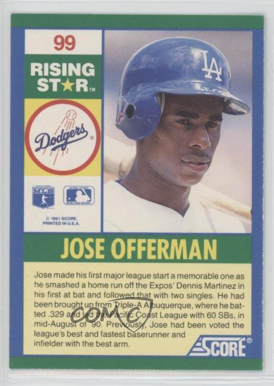 1991 Score 100 Hottest Rookies Box Sets Base 99 Jose Offerman