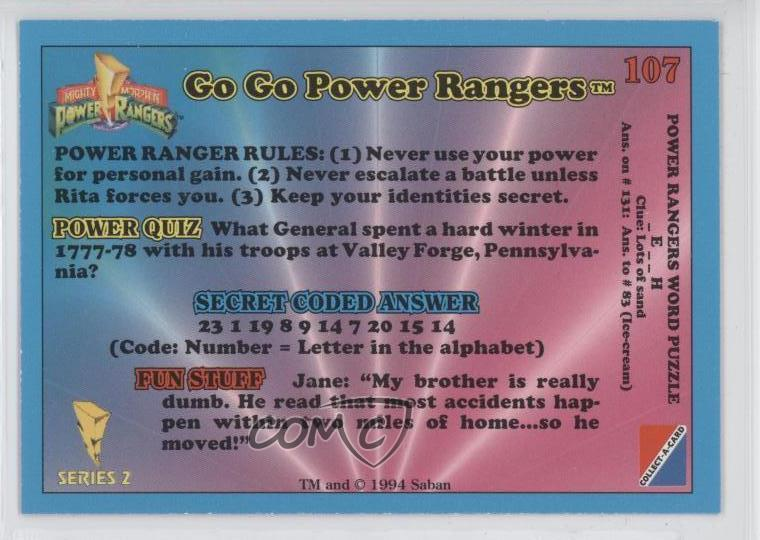 Details about 1994 Collect-A-Card Mighty Morphin Series 2 #107 Go Power  Rangers Card 0b5