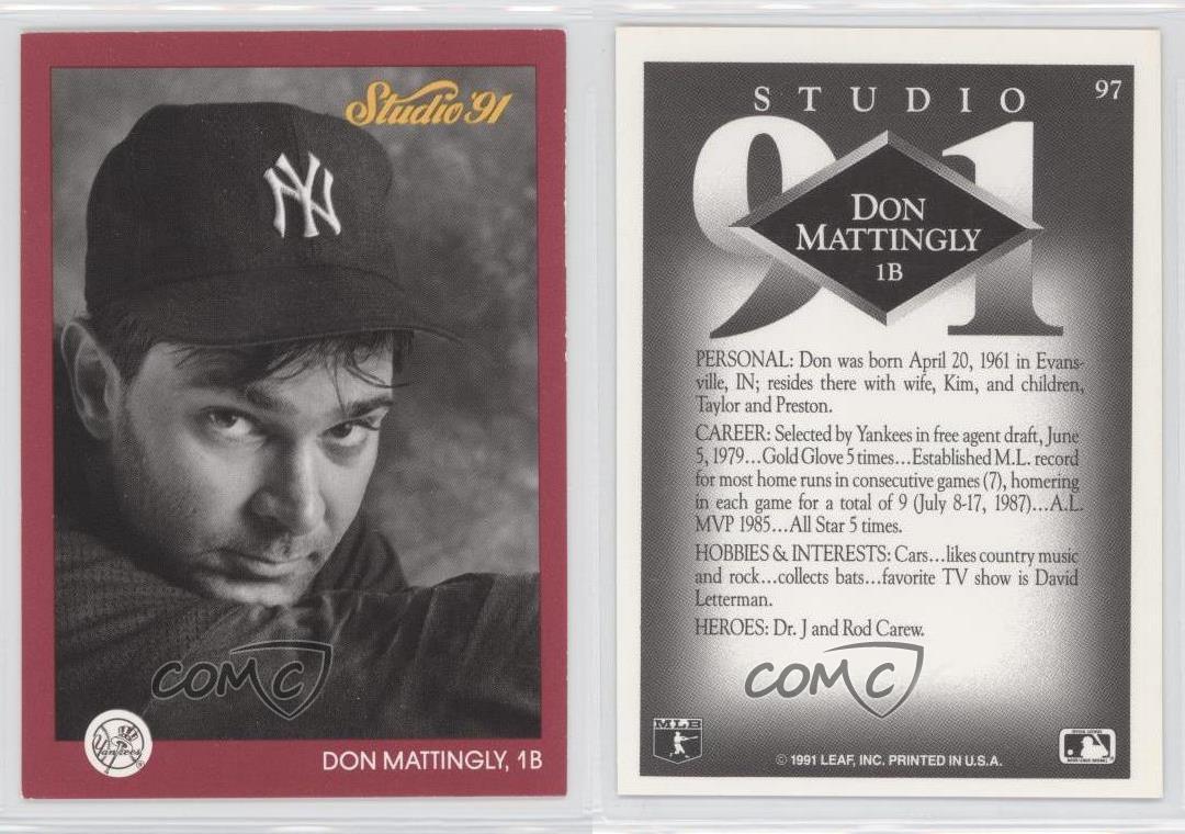 1991 Studio 97 Don Mattingly New York Yankees Baseball