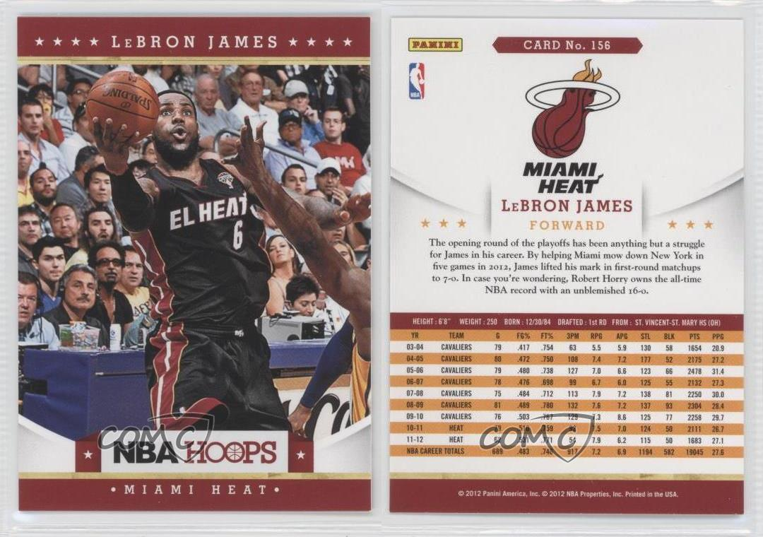 Mi miami heat team with lebron - 2012 13 Nba Hoops 156 Lebron James Miami