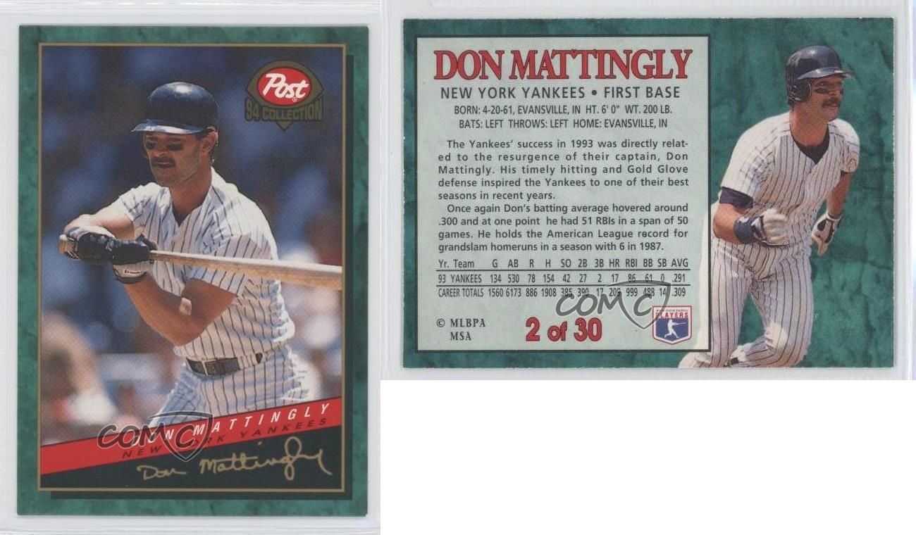 1994 Post Collection 2 Don Mattingly New York Yankees