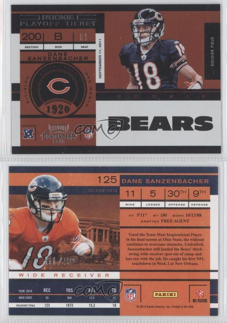 2011-Playoff-Contenders-Ticket-125-Dane-Sanzenbacher-Chicago-Bears-Football-Card