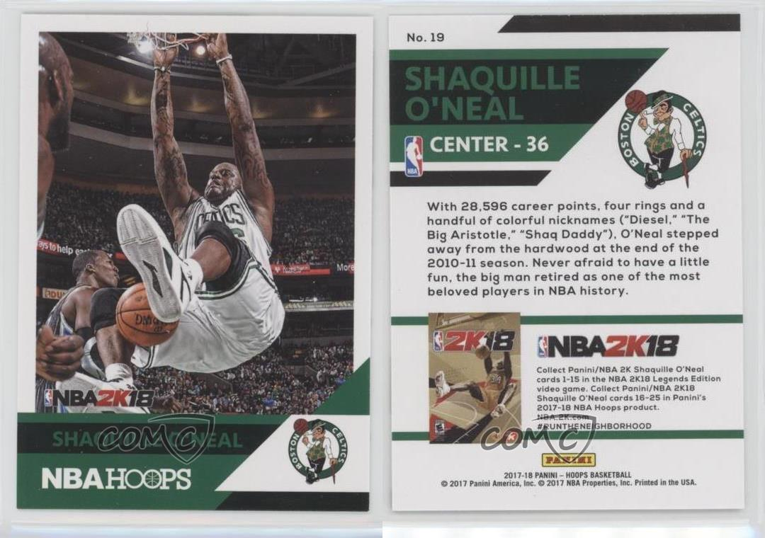 2017-18-Panini-NBA-Hoops-2K-19-Shaquille-O-039-Neal-Boston-Celtics-Basketball-Card