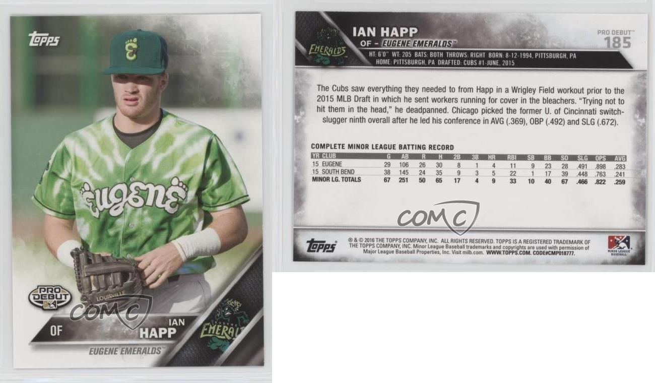 2016 Topps Pro Debut 185 Ian Happ Eugene Emeralds Rookie Baseball Lg Led 29 Mt 47 A