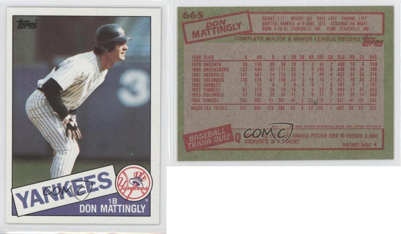 1985 Topps 665 Don Mattingly New York Yankees Baseball