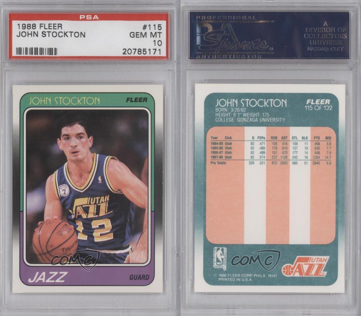1988-89 Fleer #115 John Stockton PSA 10 Utah Jazz RC