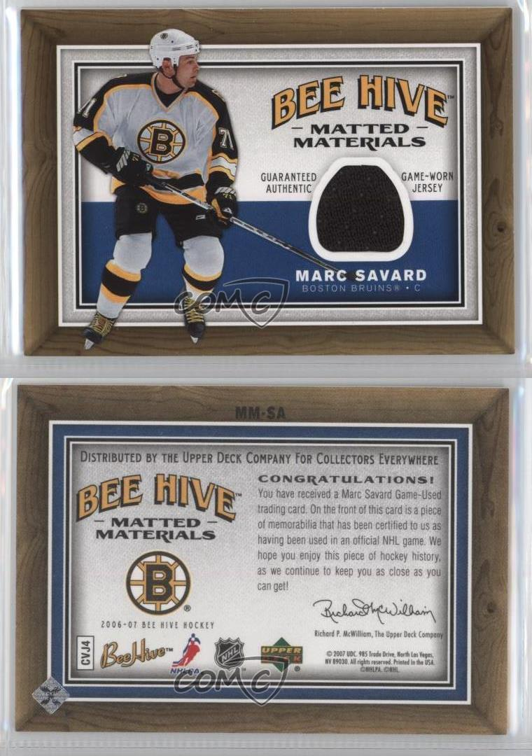 2006-Upper-Deck-Bee-Hive-Matted-Materials-MM-SA-Marc-Savard-Boston-Bruins-Card