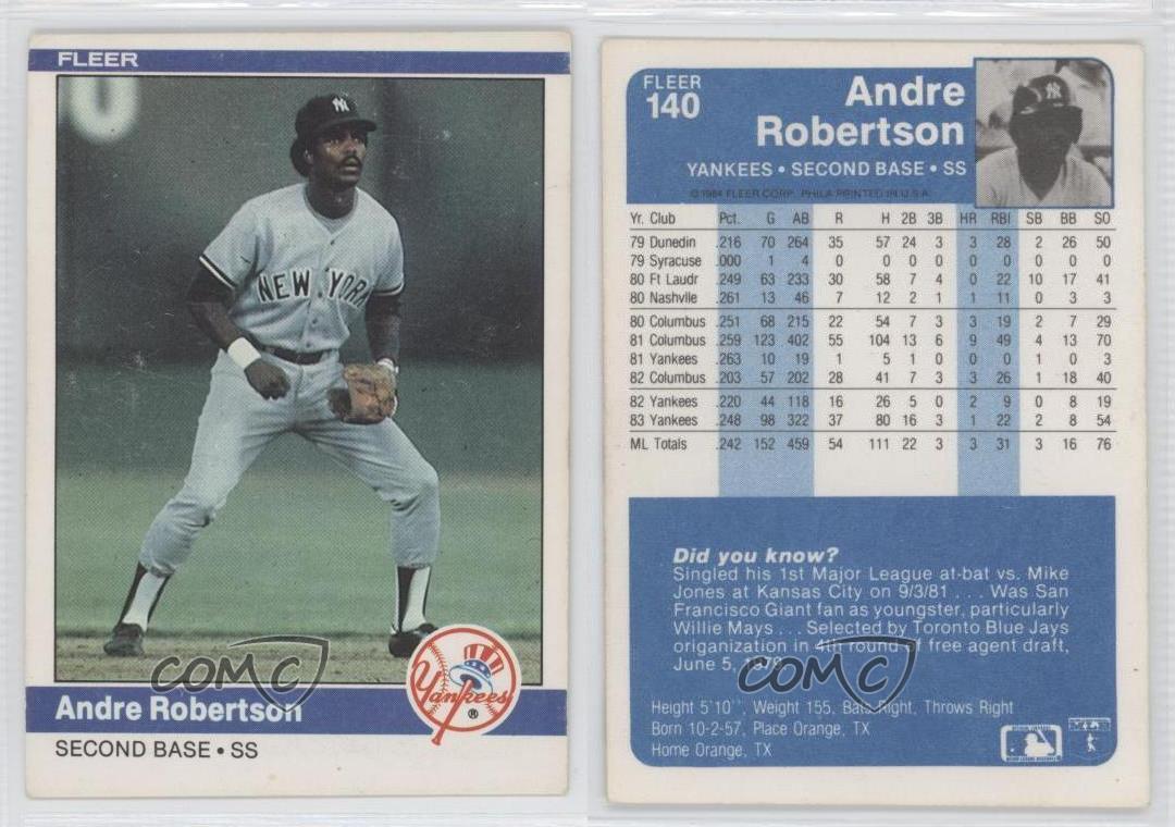 1984 Fleer 140 Andre Robertson New York Yankees Baseball
