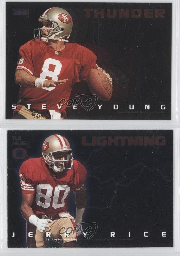 1993-Skybox-Premium-Thunder-amp-Lightning-TL8-Steve-Young-Jerry-Rice-Football-Card