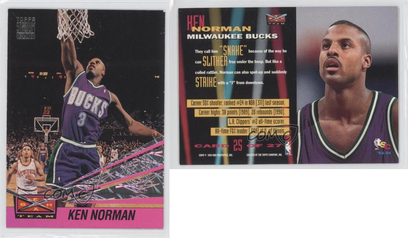 1993 Topps Stadium Club Beam Team 25 Ken Norman Milwaukee Bucks